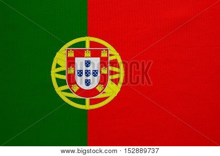 Portuguese national official flag. Patriotic symbol banner element background. Correct colors. Flag of Portugal with real detailed fabric texture accurate size illustration