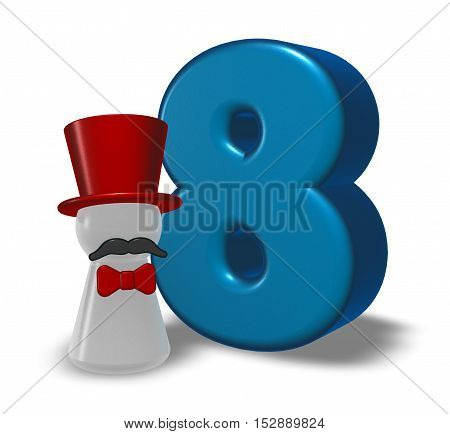 number eight and pawn with hat and beard - 3d rendering