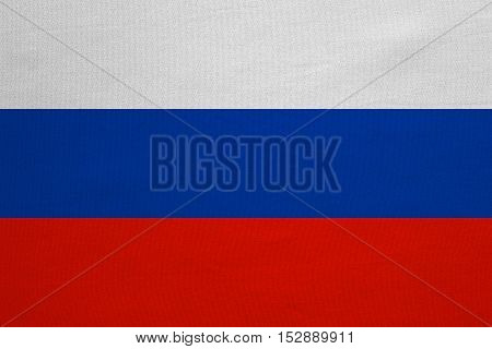 Russian national official flag. Patriotic symbol banner element background. Correct colors. Flag of Russia with real detailed fabric texture accurate size illustration