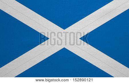 Scottish national official flag. Patriotic symbol banner element background. Correct colors. Flag of Scotland with real detailed fabric texture accurate size illustration
