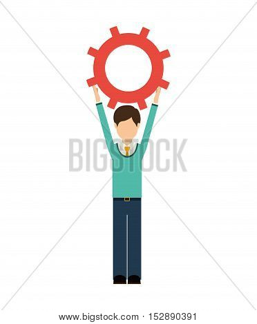 avatar male man wearing suit and tie with arms up holding a gear wheel over white background. vector illustration