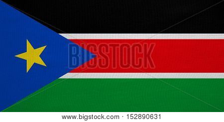 South Sudanese national official flag. African patriotic symbol banner element background. Correct colors. Flag of South Sudan with real detailed fabric texture accurate size illustration