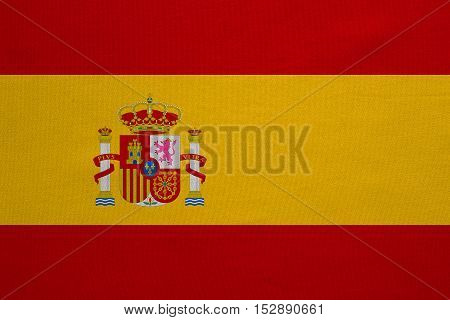 Spanish national official flag. Patriotic symbol banner element background. Correct colors. Flag of Spain with real detailed fabric texture accurate size illustration