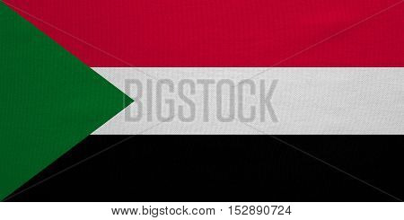 Sudanese national official flag. African patriotic symbol banner element background. Correct colors. Flag of Sudan with real detailed fabric texture accurate size illustration