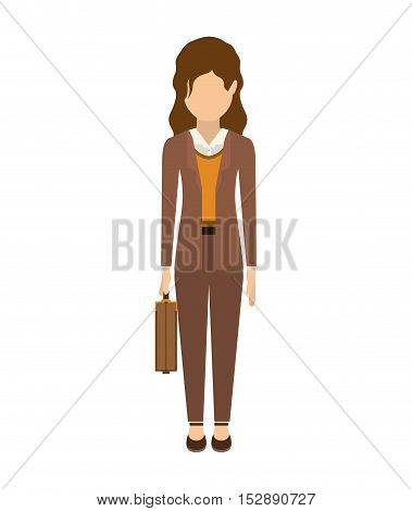 avatar female woman wearing executive clothes with business briefcase accessory over white background. vector illustration
