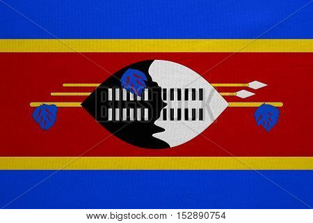 Swazi national official flag. Patriotic symbol banner element background. Correct colors. Flag of Swaziland with real detailed fabric texture accurate size illustration