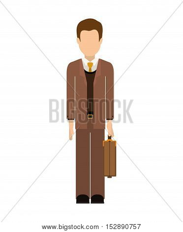 avatar male man wearing suit and tie with executive briefcase accessory over white background. vector illustration