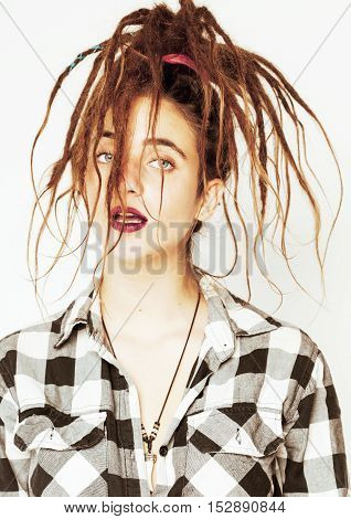 real caucasian woman with dreadlocks hairstyle funny cheerful faces on white background