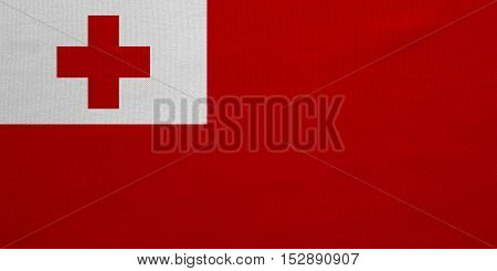 Tongan national official flag. Patriotic symbol banner element background. Correct colors. Flag of Tonga with real detailed fabric texture accurate size illustration