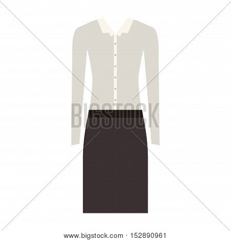 white blouse and black skirt. executive women clothes design. vector illustration