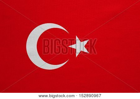 Turkish national official flag. Patriotic symbol banner element background. Correct colors. Flag of Turkey with real detailed fabric texture accurate size illustration