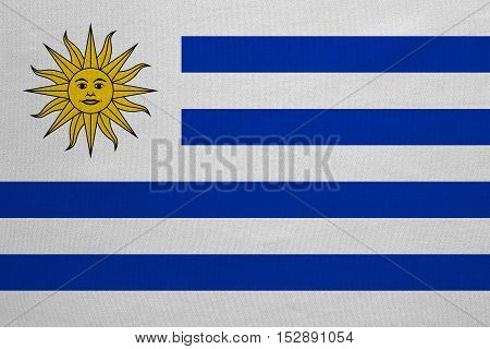 Uruguayan national official flag. Patriotic symbol banner element background. Correct colors. Flag of Uruguay with real detailed fabric texture accurate size illustration
