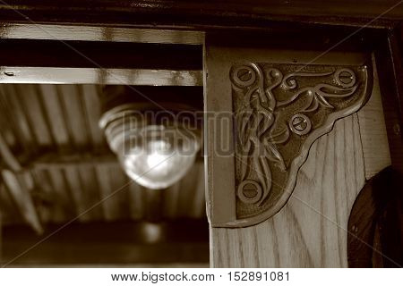 Ornamental detail of a vintage wooden streetcar