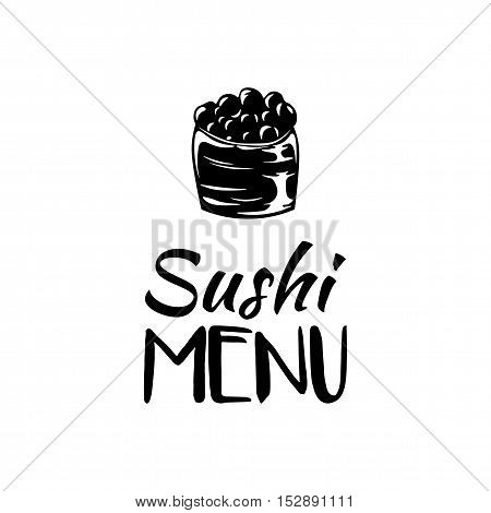 Roll with Caviar. Sushi Menu. Japanese Cuisine. Vector Illustration