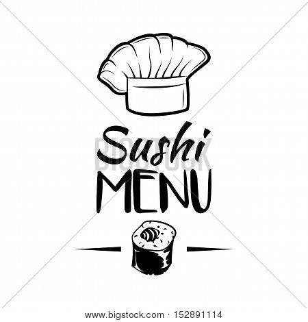 The Salmon roll. Sushi Menu. Hat Chef Japanese Cuisine. Vector Illustration