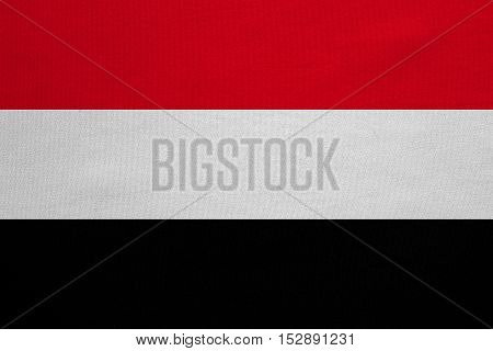 Yemeni national official flag. Patriotic symbol banner element background. Correct colors. Flag of Yemen with real detailed fabric texture accurate size illustration
