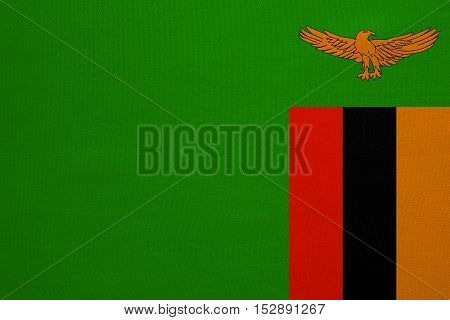 Zambian national official flag. African patriotic symbol banner element background. Correct colors. Flag of Zambia with real detailed fabric texture accurate size illustration
