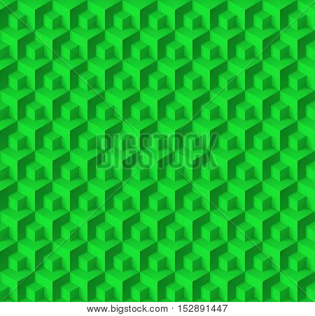 Abstract geometric background with cubes in green color
