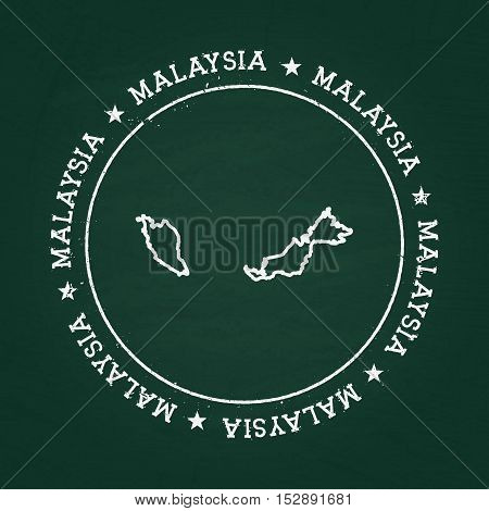 White Chalk Texture Rubber Seal With Malaysia Map On A Green Blackboard. Grunge Rubber Seal With Cou