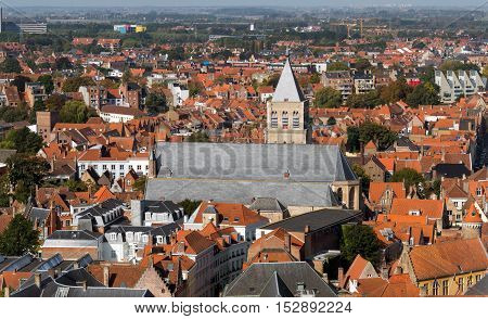 View From Tower Of The Bruges City, Belgium