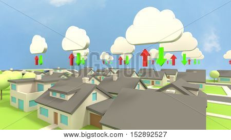 Low poly city scene close up with several houses all connected to the cloud communication concept 3D illustration