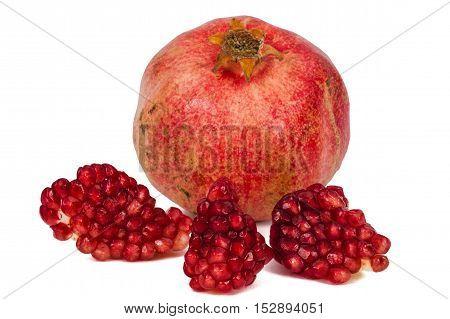 Ripe pomegranate fruit isolated on white background