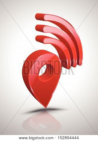 Pin wifi icon 3D style. Vector illustration.