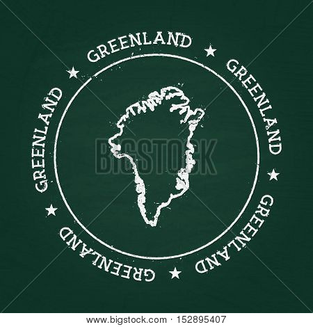White Chalk Texture Rubber Seal With Greenland Map On A Green Blackboard. Grunge Rubber Seal With Co