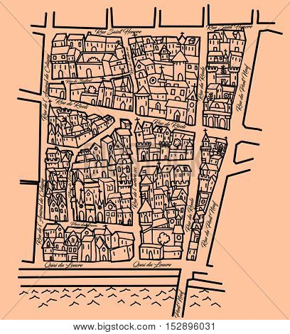 Imaginary old map inspired by the old Middle ages ones, nice for original wrapping paper, Saint Honore district in Paris - vector illustration