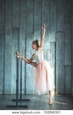 Time for ballet practice. Modern ballet dancer training in ballet class and doing stretching exercises, staying near barre