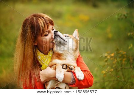 Girl hugging dog Shiba Inu in autumn park. Pedigree dog. Funny animals and their owners. Riot of colors of nature. Outdoor Activities.