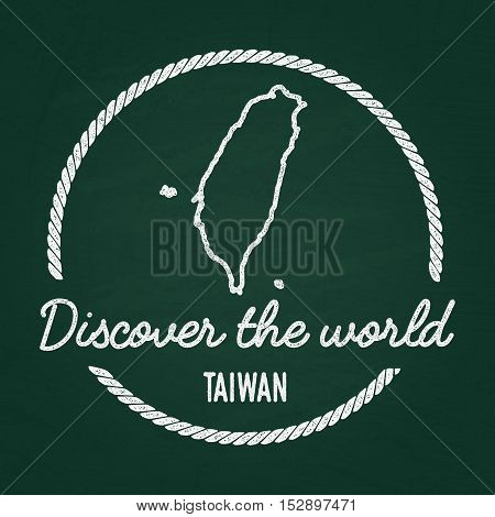 White Chalk Texture Hipster Insignia With Taiwan Map On A Green Blackboard. Grunge Rubber Seal With