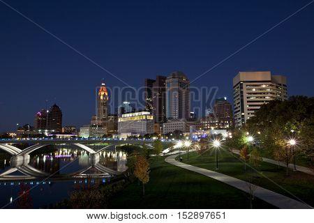 Autumn in Columbus, Ohio along the Scioto river.