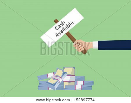 cash available sign symbol illustration concept with business man hand holding a poster with text vector