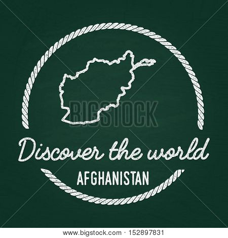 White Chalk Texture Hipster Insignia With Islamic State Of Afghanistan Map On A Green Blackboard. Gr