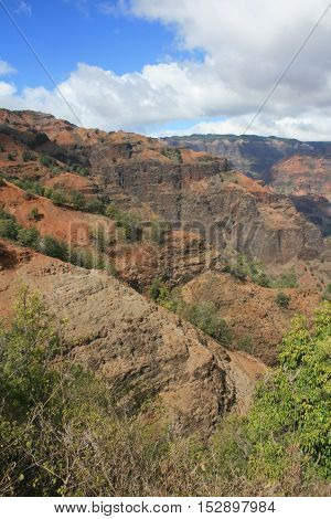 Clouds and blue sky above Waimea Canyon, the