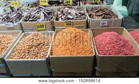 dried shrimp and dried squid for sale in street market