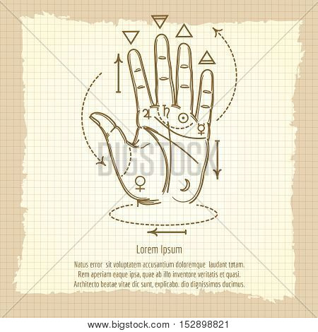 Palmistry sign vector illustration. Hand and isoteric signs on vintage background