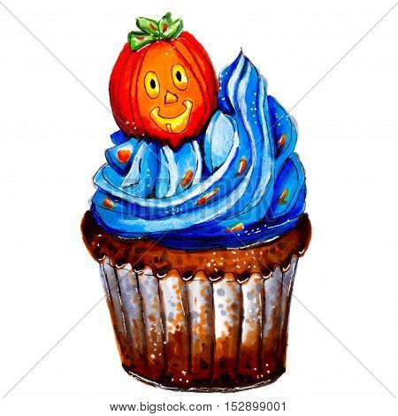 Marker sketch of Halloween pumpkin cupcake. Party dessert of chocolate dough with blue cream orange sign. Tasty food. Isolated on white background. Hand drawing on paper. Macro cutout. Brown. Creativity art.