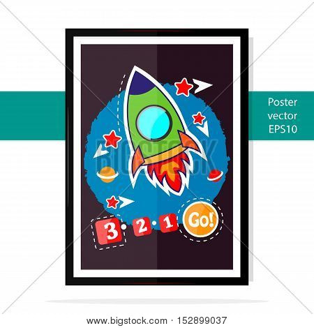 Poster vector rocket kid blasting Through Outer Space.