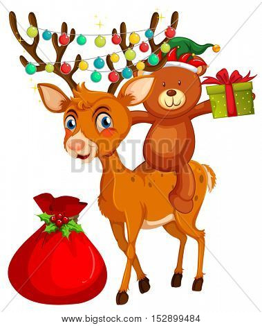 Christmas theme with bear and reindeer illustration