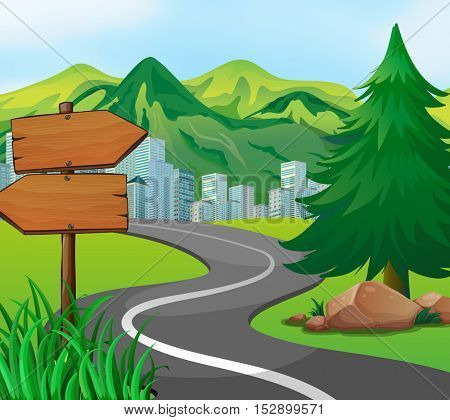 Scene with road to the city illustration