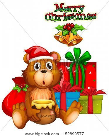 Christmas card design with bear and presents illustration