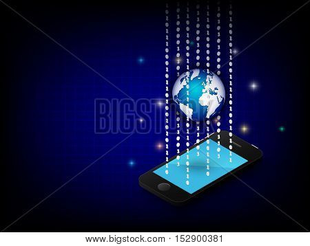 Cell phone and globe and binary digit on blue background . Vector 3D graphic design .