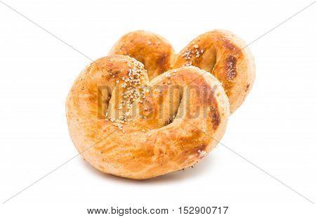 baked pretzel turkish dessert on a white background