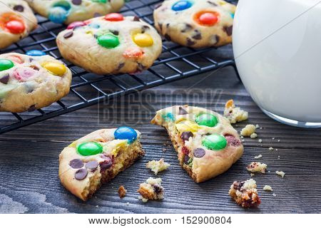 Shortbread cookies with multi-colored candy and chocolate chips on cooling rack horizontal