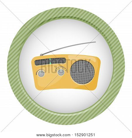 Radio colorful icon. Vector illustration in cartoon style