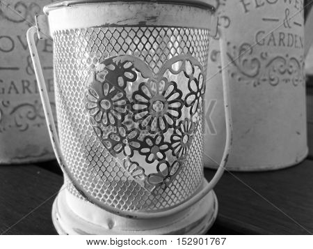 Monochrome close up picture of vintage decor candlestick