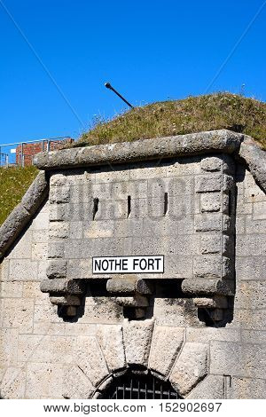 Entrance to Nothe Fort with a gun turret above Weymouth Dorset England UK Western Europe.