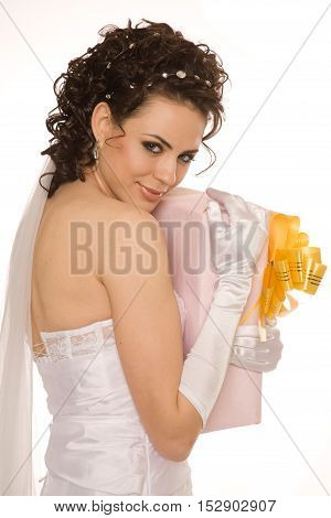 Greedy  beautiful bride with presents studio shoot